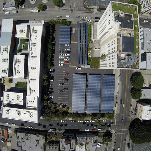 Aerial view of solar panel carport installed by ReGreen at Walter J. Towers Medical Office Building
