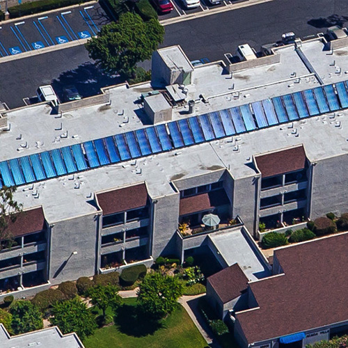 Aerial view of Goldrich/Kest solar panel installation by ReGreen